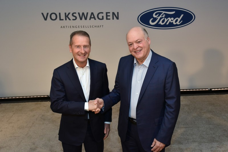 NY, NY, July 12, 2019--Volkswagen CEO Dr. Herbert Diess and Ford President and CEO Jim Hackett today announced a strategic expansion of the global alliance between their organizations to include electric vehicles.  VW will join Ford as an equal investor in Argo AI that implies a valuation of more than $7 million for the innovative autonomous-vehicle platform company.  Additionally, Ford said it will use VW's electric-vehicle architecture and Modular Electric Toolkit (MEB) to design and build at least one high-volume, fully electric vehicle in Europe for European countries starting in 2023. Photo by: Sam VarnHagen