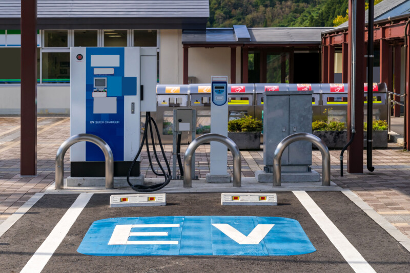EV Station Charger for electrical vehicle car using as green environmental concept